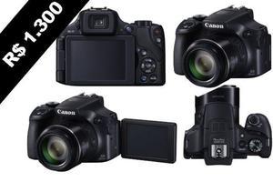 Câmera canon sx60hs zoom 60x pagamento à vista tem