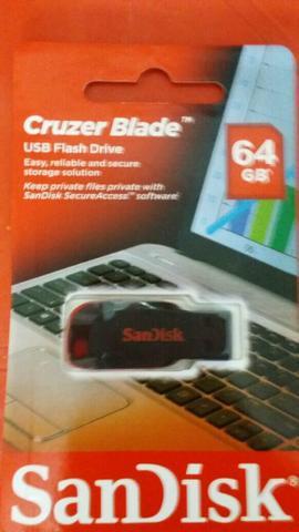Pen drive 64 gb sandisk cruzer blade original novo!