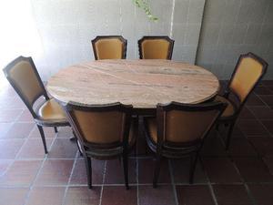 Mesa de jantar com seis cadeiras - antiguidade