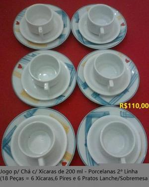 Jogo de chá de 18 peças em porcelana branca e decorada -