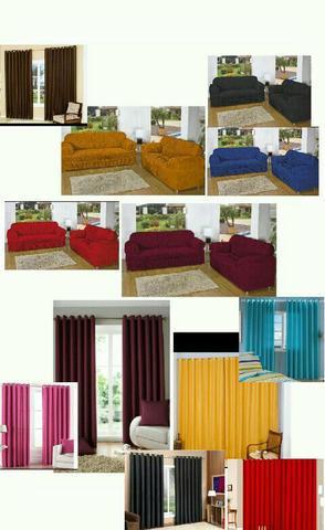 Kit cortina + capa de sofa super promoção