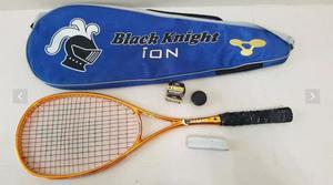 Raquete squash black knight ion storm + bola nova +grip novo