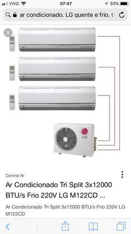 Ar condicionado lg quente e frio tri split 36.000btu