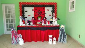 Locação decoração de festa ladybug cat noir miraculous