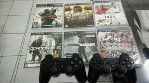 Ps3 super slim novo, 250gb hd, 2 controles, 6 jogos