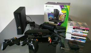 Xbox 360 + 2 controles +14 jogos + disco rígido + kinect
