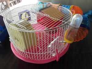 Gaiola 3 andares com tubos e hamster sirio