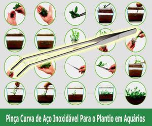 Pinça curva para o plantio em aquários plantados