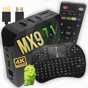 Kit tvbox mx9 4k android 7.1 ultra hd + mini teclado smart