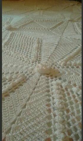 Colcha feita em crochê