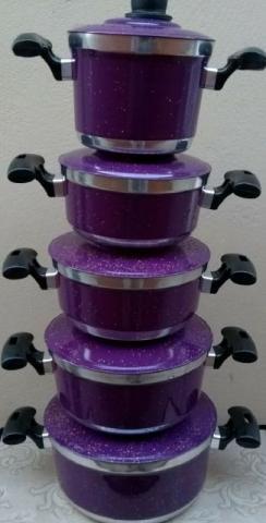 Jogo de panelas coloridas 5 peças de alumínio
