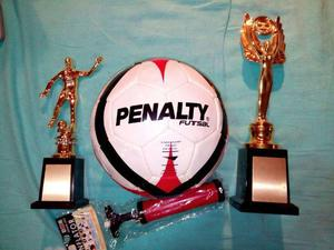 Kit novo - bola futsal penalty + 02 troféis + bomba de ar