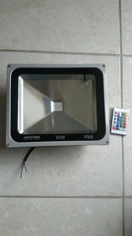 Luminaria refletor de led arco íris com controle remoto