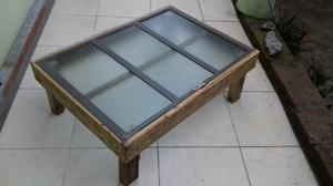 Mesa retro madeira ferro e vidro