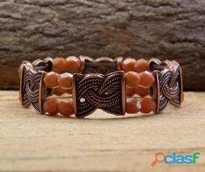 Pulseira bracelete cobre estilo boho chic bijuterias