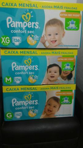 Caixa mensal pampers confort séc m/176, g com 152 e xg/136