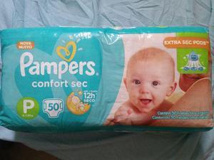 Fraldas pampers confort, tamanho p, com 50