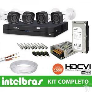 Kit de 04 câmeras intelbras instalado.