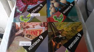 4 livros araribá plus do 9º ano português, geografia,