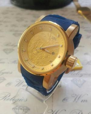 Relógio invicta yakuza - dourado com azul