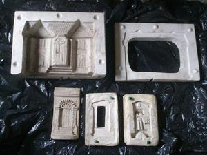 Lote de moldes p/ reproduzir em gesso fachadas de
