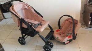Carrinho e bebê conforto rosa burigotto