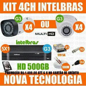 Kit câmeras de segurança com 04 câmeras hdcvi + dvr 04 ch