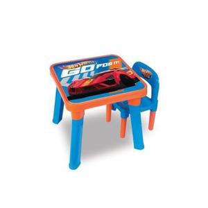 Mesa infantil com duas cadeiras hot wheels