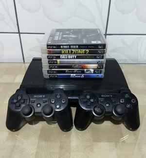Ps3 ultraslim 250gb + 2 controles + 11 jogos