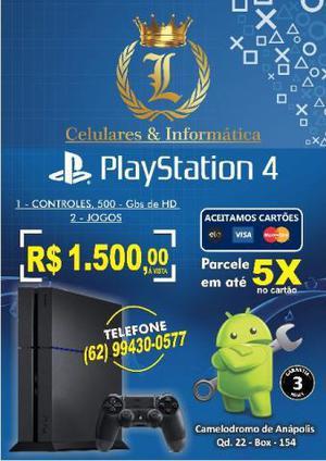 Playstation 4 slim 1 controle 3 jogos 3 meses garantia