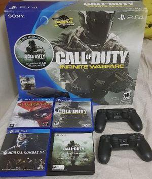 Playstation 4 slim + 2 controles + 4 jogos (novo)