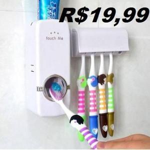 Kit dispenser automático de creme dental + porta escovas