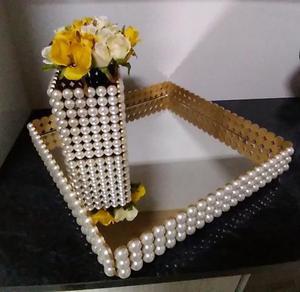 Kit bandeja decorada em pérolas