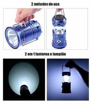 Lampiao e lanterna led recarregavel solar e energia usb (em