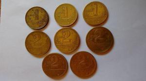 Lote de moedas amarelas de cruzeiro antiga em ótimo estado,