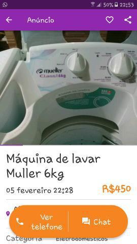 Máquina de lavar roupas muller 6kg