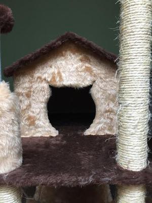 Arranhador com casa para gatos