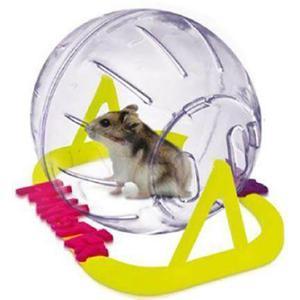 Globo bola hamster médio 17 cm plast pet c/suporte + brinde