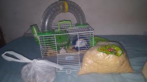 Hamster + ração + gaiola completa!!!