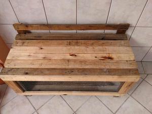 Viveiro baú madeira para diversos pets com tela fina