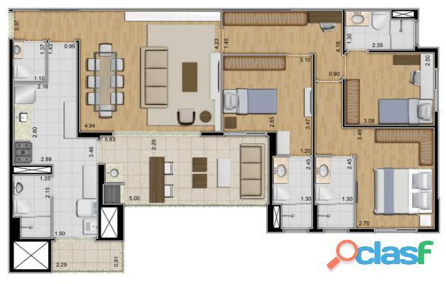 Apartamento pronto 118 m 3 suítes 2 vagas Ideale Torre única 12