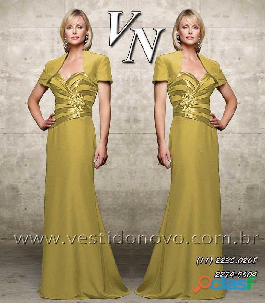 Vestido dourado com manga mae do noivo na aclimação / vila mariana, zona sul