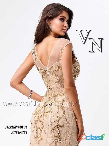 vestido nude com dourado Plus Size, mae do noivo, loja VESTIDO NOVO zona sul