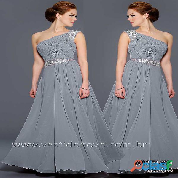 Vestido de um ombro só mãe do noivo na cor prata, aclimação, vila mariana, zona sul