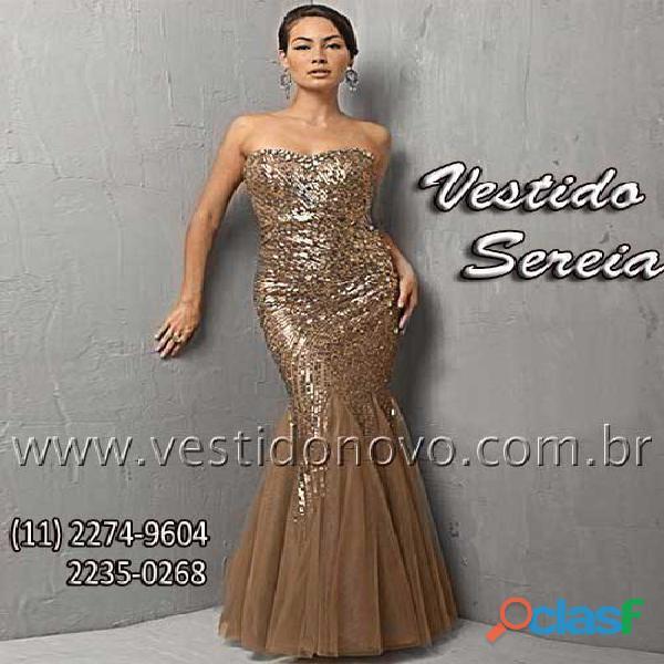 Vestido sereia dourado na loja VESTIDO NOVO zona sul