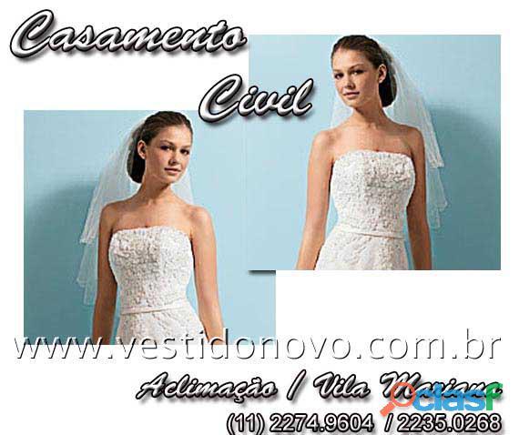 Vestido branco para casamento civil é na casa do vestido novo zona sul