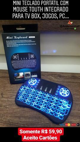 Mini teclado portátil com mouse touth integrado led para tv