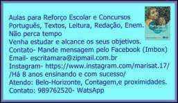 Aulas português, matemática e redação