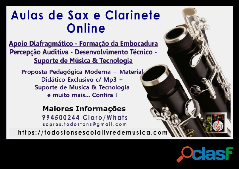 Aulas de Sax e Clarinete na zona norte de Sp ou Online