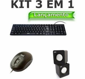 Kit 3-1 teclado, mouse, caixa de som